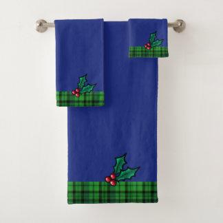 Blaues Grün-Weihnachten kariert und Badhandtuch Set