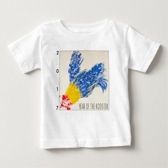 Blaues Hahn-Kindermalerei-Baby-T-Stück 2017 Baby T-shirt