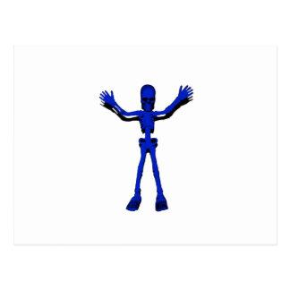 Blaues Halloween-Skelett Postkarte
