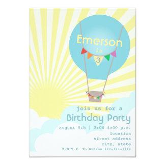 Blaues Heißluft-Ballon-Kindergeburtstag-Party 12,7 X 17,8 Cm Einladungskarte