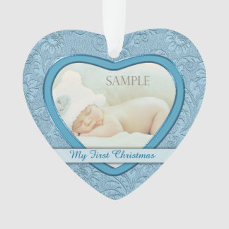 Blaues Herz-Strudel-Baby-erstes Weihnachten Ornament