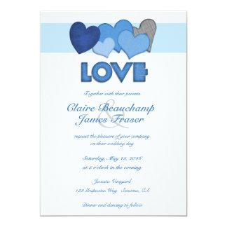 Blaues Herzen LIEBE Wedding 12,7 X 17,8 Cm Einladungskarte