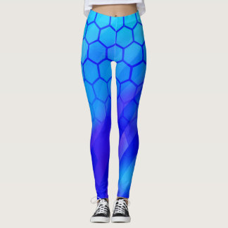 Blaues Hexagon Leggings