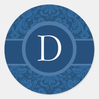 Blaues Hochzeits-Monogramm B oder irgendein Runder Aufkleber