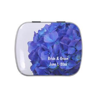 Blaues Hydrangea-Hochzeits-Süßigkeits-Zinn Vorratsdose