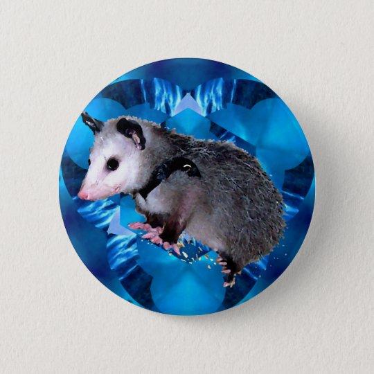 Blaues Kaleidoskop-Opossum Runder Button 5,1 Cm