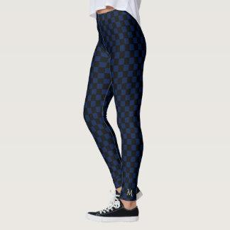 Blaues Karo-Muster-Monogramm-Gamaschen in voller Leggings