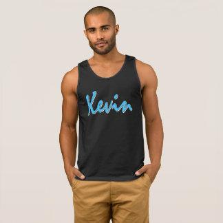 Blaues Kevin-Logo auf schwarzes Trägershirt Tank Top