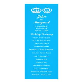Blaues Königspaar-Hochzeits-Programm Werbekarte