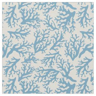 Blaues korallenrotes Monogramm des Muster-| Stoff