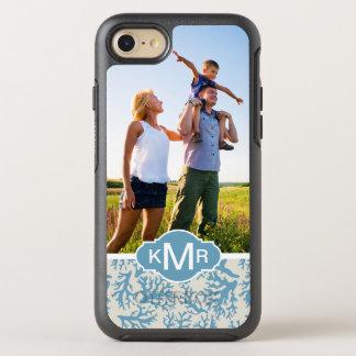 Blaues korallenrotes Muster   Ihr Foto u. Name OtterBox Symmetry iPhone 8/7 Hülle