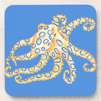 Blaues Kraken-Buntglas Getränkeuntersetzer