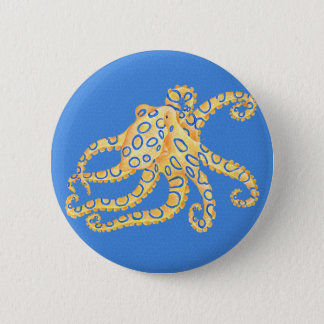 Blaues Kraken-Buntglas Runder Button 5,1 Cm