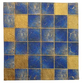 Blaues Lapislazuli- und Goldmuster Stoffserviette