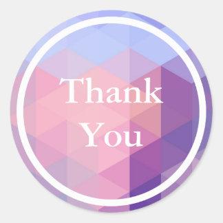 Blaues lila geometrisches Pastellmuster danken Runder Aufkleber