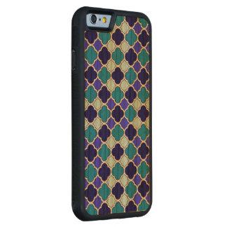 Blaues lila grünes nahtloses Quatrefoil Kirschholz Bumper iPhone 6 Hülle Kirsche