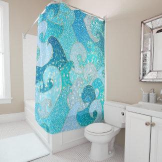 Blaues Meerjungfrau-Imitat-Glitter Meeraquamariner Duschvorhang