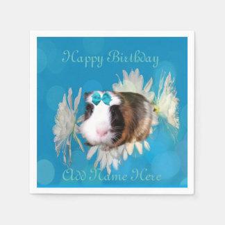 Blaues Meerschweinchen-Blumen-Geburtstags-Logo, Papierservietten