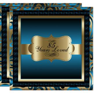 Blaues metallisches u. Gold - 85. Quadratische 13,3 Cm Einladungskarte
