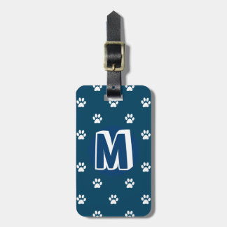 Blaues mit Monogramm Haustier Kofferanhänger
