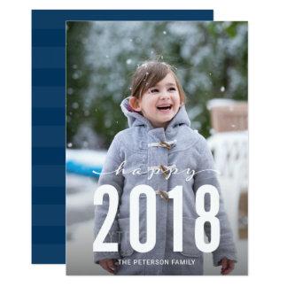 Blaues modernes glückliches Feiertags-Foto des 12,7 X 17,8 Cm Einladungskarte