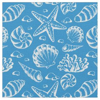 Blaues Monogramm 2 des Strand-Muster-| Stoff