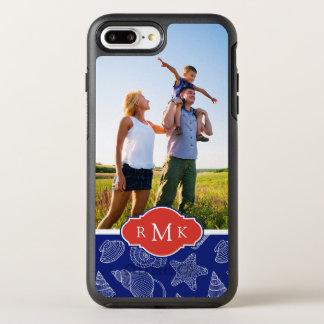 Blaues Monogramm des Muschel-Muster-  OtterBox Symmetry iPhone 8 Plus/7 Plus Hülle