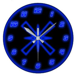 Blaues Neon (Effekt) Große Wanduhr