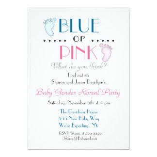 Blaues oder rosa Baby-Fuß-Geschlecht decken Karte