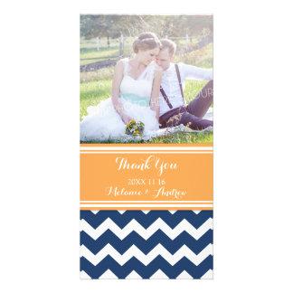 Blaues orange Zickzack danken Ihnen Bilder Karten