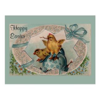 Blaues Osterei und Küken-Vintage Postkarte