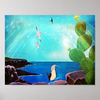 Blaues Ozean-Fliegen-Vogel-Malen Poster