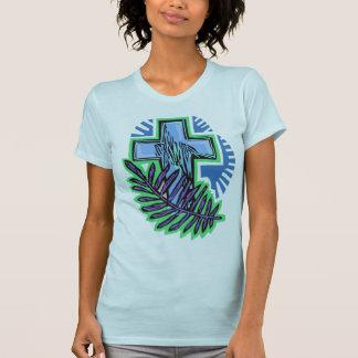 Blaues Palmen-Kreuz T-Shirt