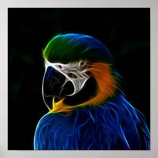 Blaues Papageien-Fraktal Digital Poster