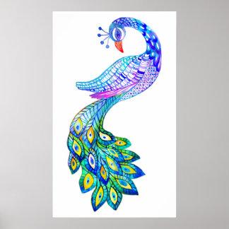 Blaues Pfau-Aquarell Poster
