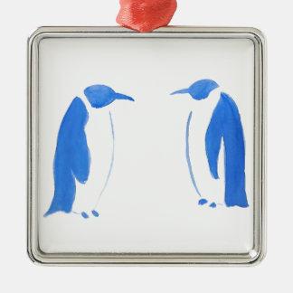 Blaues Pinguin-Duo Silbernes Ornament