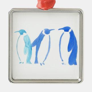 Blaues Pinguin-Trio Quadratisches Silberfarbenes Ornament