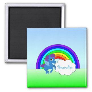 """""""Blaues Pony und Regenbogen """" Quadratischer Magnet"""