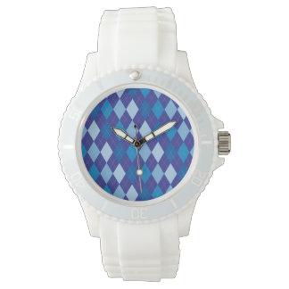 Blaues Rautenmuster Armbanduhr