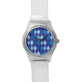 Blaues Rautenmuster Uhr