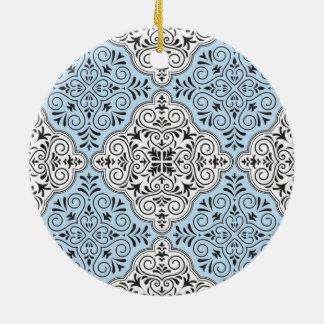 Blaues Rokoko-Muster blühen Keramik Ornament