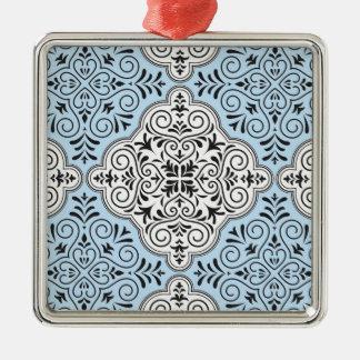 Blaues Rokoko-Muster blühen Silbernes Ornament