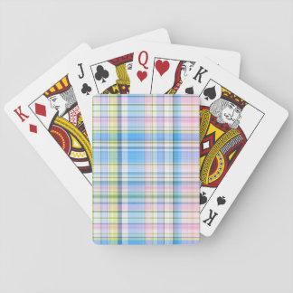 Blaues rosa gelbes weißes adrettes Madras Spielkarten
