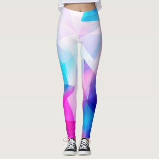 Blaues rosa geometrisches leggings