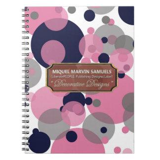 Blaues rosa Grau sprudelt modernes Notizbuch Spiral Notizblock