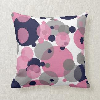 Blaues rosa Grau sprudelt weißes Wurfs-Kissen Kissen
