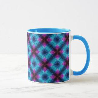 Blaues, rosa, lila geometrisches Muster Tasse