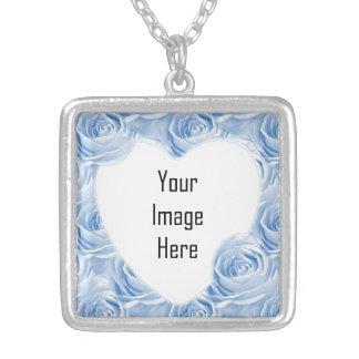 Blaues Rosen-Tapeten-Muster - Foto-Schablone Halskette Mit Quadratischem Anhänger