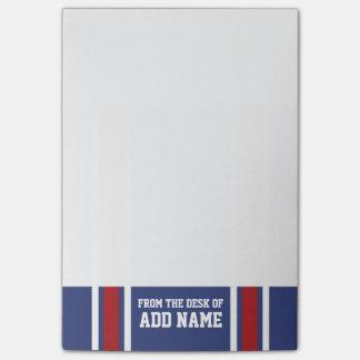 Blaues Rot-Fußball-Jersey-Name-Zahl Post-it Klebezettel