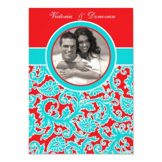 Blaues Rot-weiße Damast-Foto-Hochzeits-Einladung 12,7 X 17,8 Cm Einladungskarte
